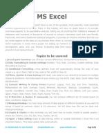 Training Topics - MS Excel