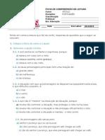 Ficha de Compreensão de Leitura - Avó e Neto Contra Areia e Vento