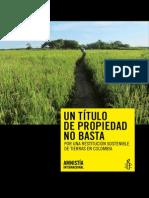 UN TÍTULO DE PROPIEDAD NO BASTA POR UNA RESTITUCIÓN SOSTENIBLE DE TIERRAS EN COLOMBIA