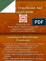 Massive Transfusion and Coagulopathy