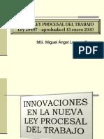Innovaciones a La Nueva Ley Procesal de Trabajo