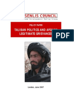Taliban Politics and Afghan Legitimate Grievances (Senilis Council document)