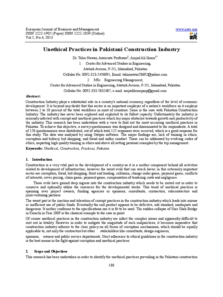 Unethical Practices In Construction