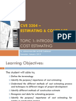 CVE4215. Topic 1-Introduction to Estimating
