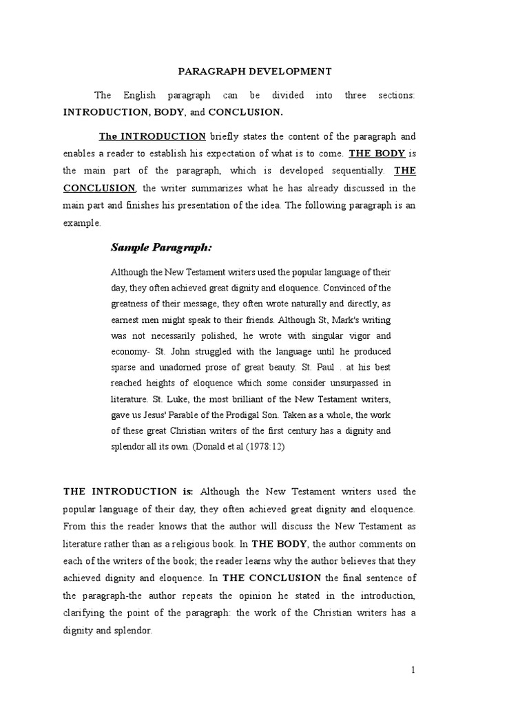 paragraph development by example sample