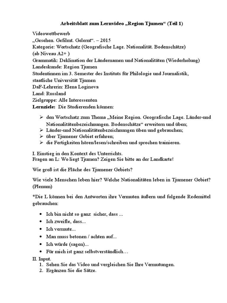 Arbeitsblatt Region Tjumen
