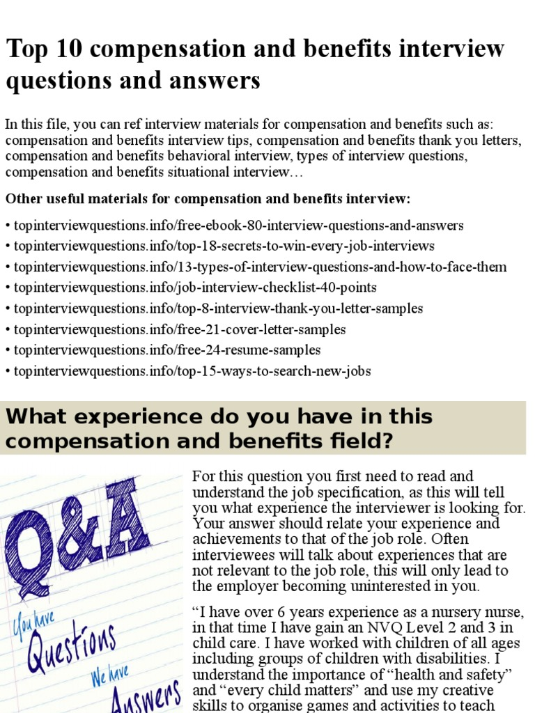Top 10 Compensation And Benefits Interview Questions And Answers.pptx |  Compensation And Benefits | Job Interview