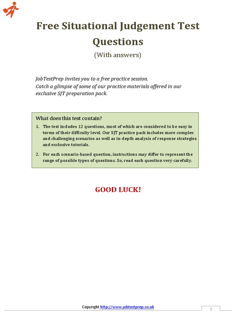free situational judgement test questions and answers