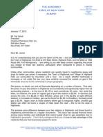 Assemblyman Skoufis Letter re