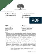 Jasmina Grkovic-Major, On Proto-Slavic Oath Formulas