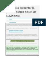 TIPS Para Presentar La Prueba Escrita Del 24 de Noviembre