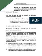 2. Requisitos Generales y Especificos Para Optar Por Un Titulo en Todas Las Carreras