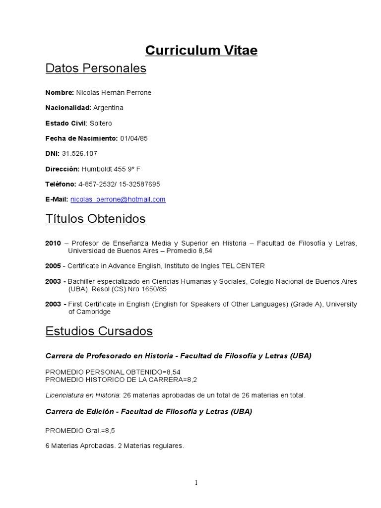 CV Nicolas Hernan Perrone