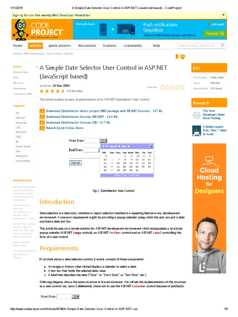 A Simple Date Selector User Control in ASP | Java Script | System