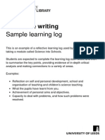 Skills Sample Learning Log
