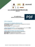 PROGRAMA DEL XXII COLOQUIO DE HISTORIA DE LIMA