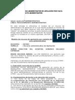 Modelo de Recurso Administrativo de Apelación Por Falta de Requisito en Acto Administrativo