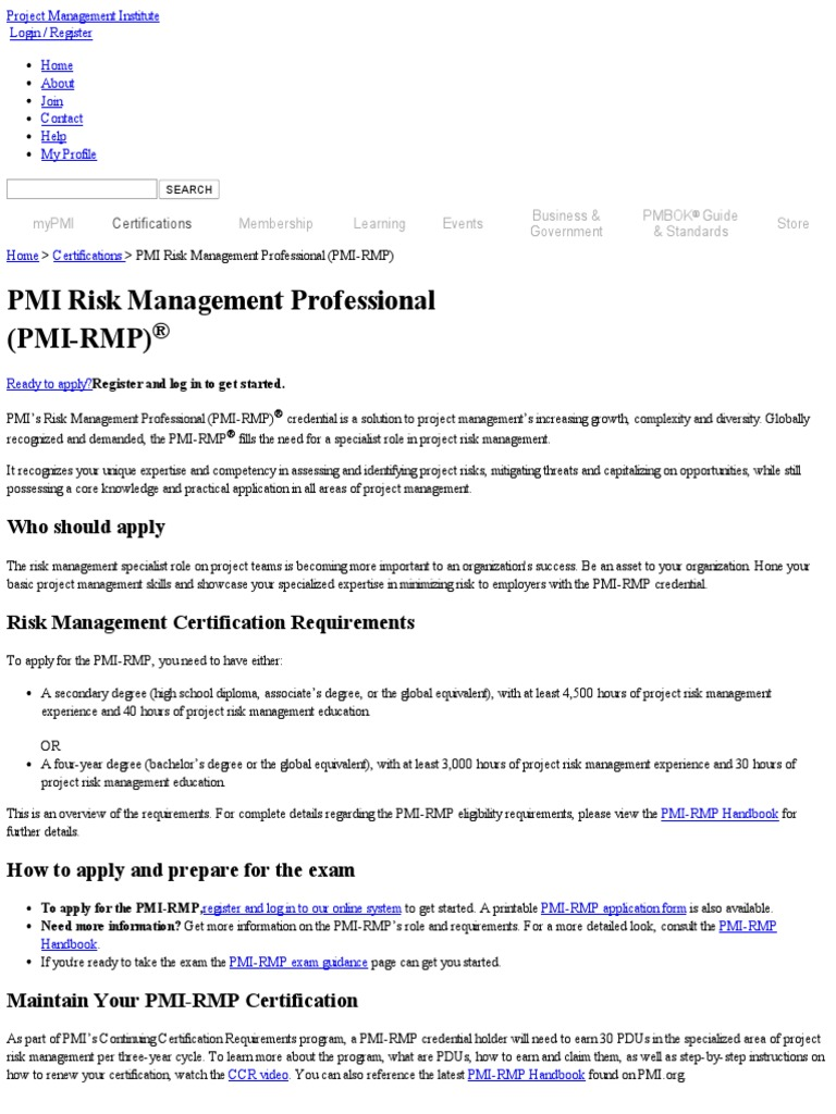 Pmi risk management professional certification pmi rmp risk pmi risk management professional certification pmi rmp risk management academic degree 1betcityfo Image collections