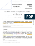 The Effect of Democracy and Press Freedom on Corruption an Empirical Test