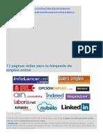 13 Páginas Útiles Para La Búsqueda de Empleo Online