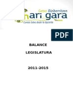 Balance Legislatura 2011-2015