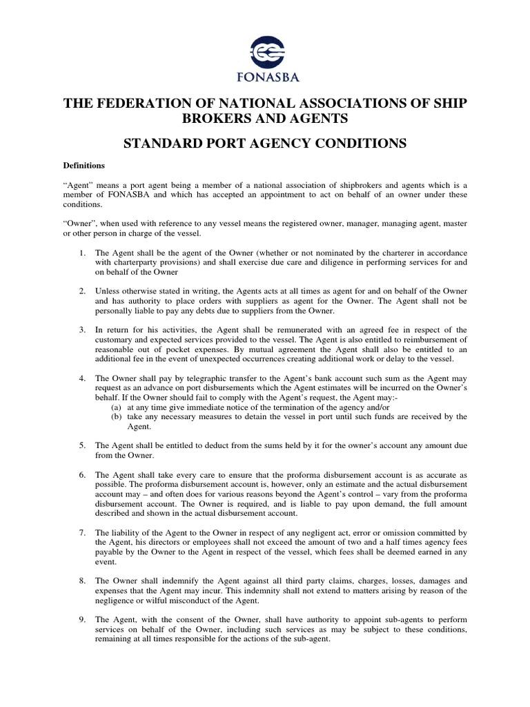 Standard Port Agency Conditions 2007 V2 Vvvvvvvvvvvvvvvvvvvg Law
