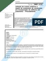 NBR 12721 1999 - Avaliação de Custos Unitarios e Preparo de Orçamento de Construção Para Incorporação