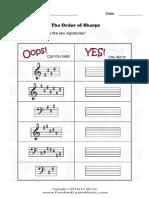 Music Worksheets Key Signatures Order of Sharps 010