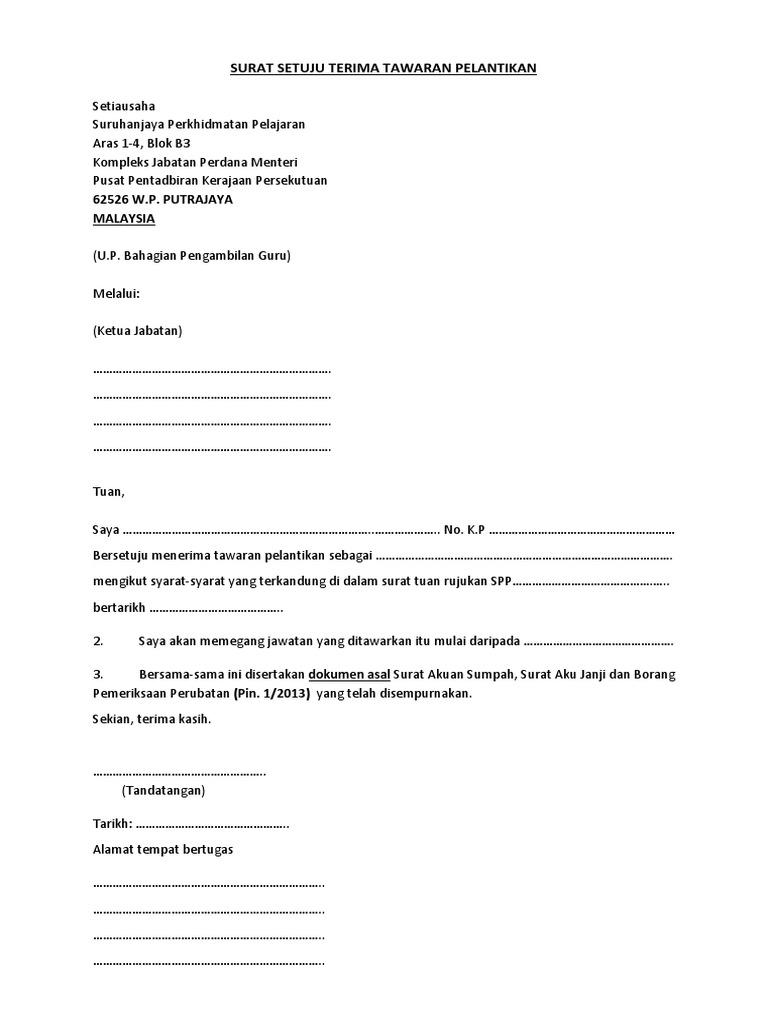 Surat Setuju Terima Tawaran Pelantikan Pdf