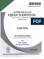 Pembahasan Soal UN Matematika SMP 2014 Paket 1