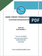 Elektronik 2 - Gebze Teknik Üniversitesi Doç. Dr. Gökhan ÇINAR Ders Notları