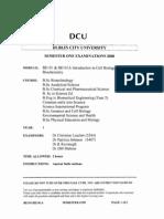 Cell Biology & Biochemistry - 2008 Exam
