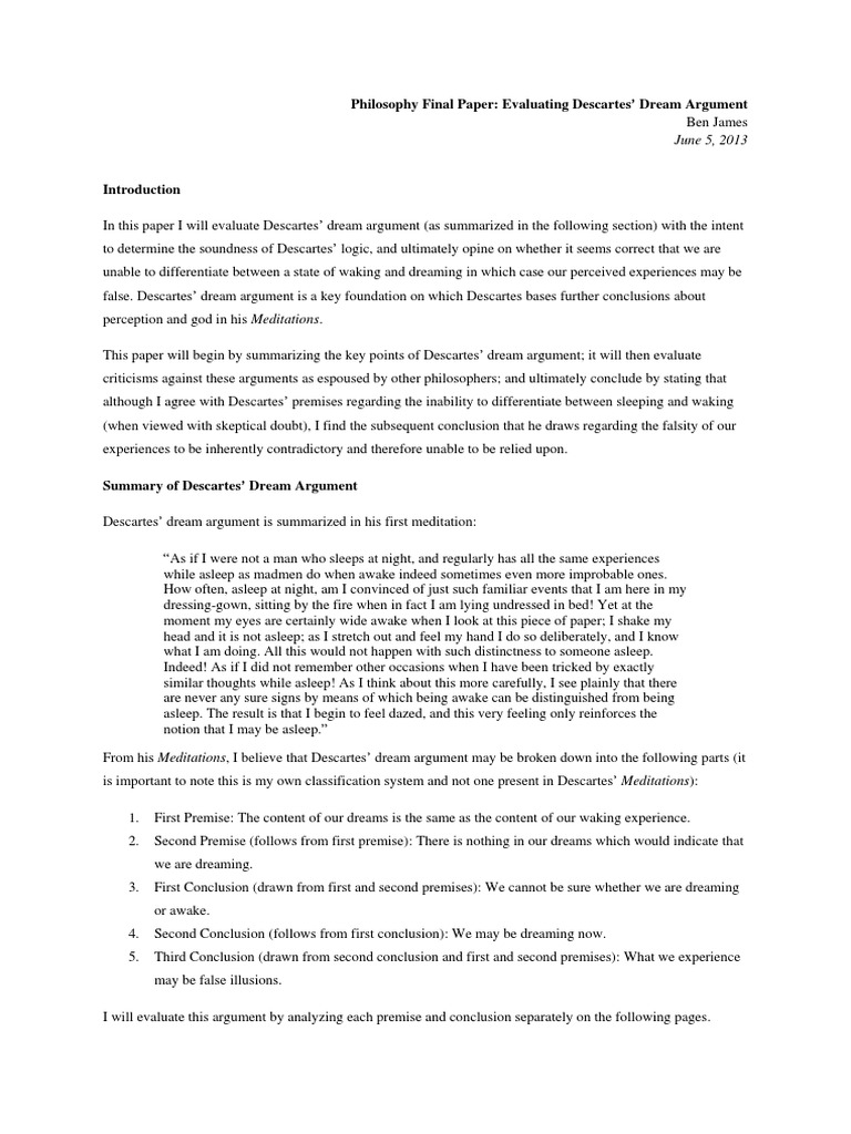 descartes essay doorway philosophy essay evaluating descartes dream argument dream