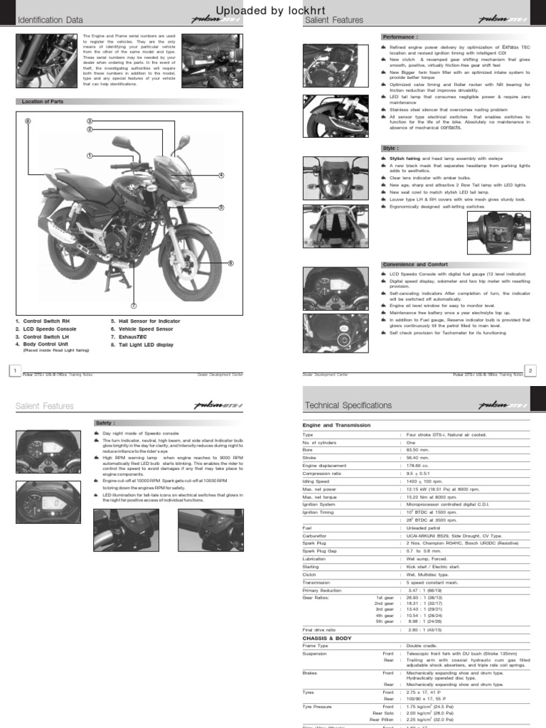 pulsar 180 dts i ug3 training notes a owners