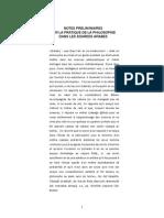 Notes Préliminaires Sur La Pratique de La Philosophie Dans Les Sources Arabes