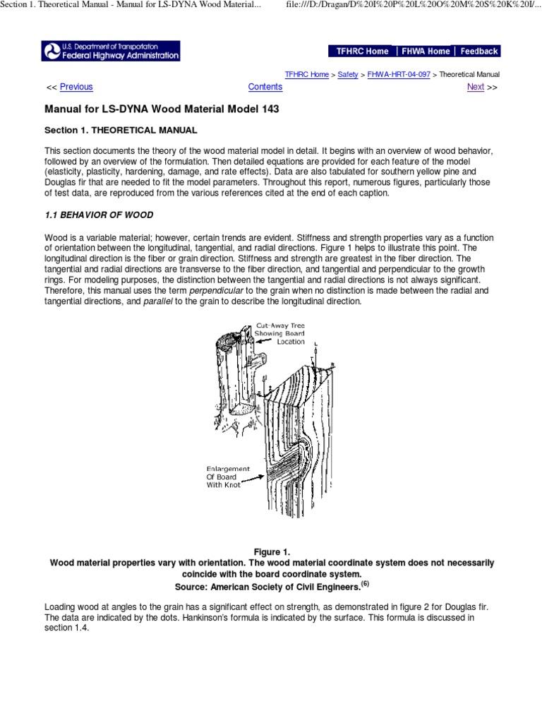 LS-DYNA Matematics Model | Wood | Strength Of Materials