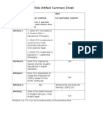 Portfolio Artifact Summary Sheet