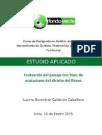 Evaluacion del Paisaje con fines ecoturisticos del distrito del Rimac
