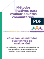 Métodos Cualitativos Para Evaluar Asuntos Comunitarios