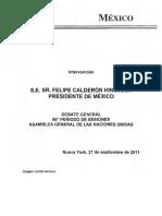 México ~ Discurso ONU Periodo de sesiones 66 ~ Felipe Calderón