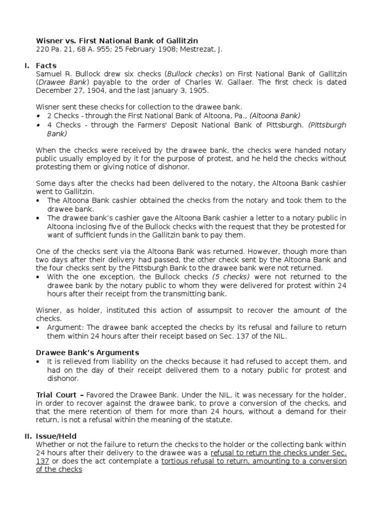 9 Wisner v First National Bank of Gallitzin | Negotiable Instrument