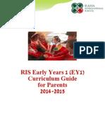Raha International School, EY1 Curriculum Guide for Parents 2014 - 2015