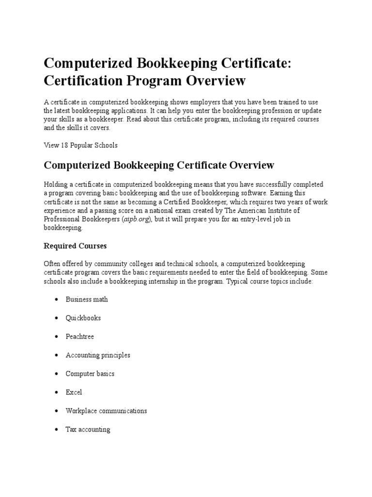Certificate Courses Of Pstri Bookkeeping Distance Education