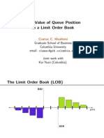 The Value of Queue Position in a Limit Order Book