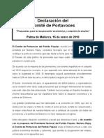 10.01.16 declaración Portavoces Interparlamentaria Palma