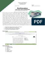 Earthquake Worksheets 2