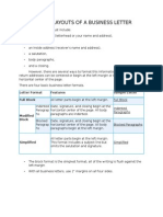 Format and Layouts of a Business Letter