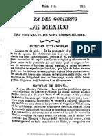 Gazeta Del Gobierno de México. 28-9-1810 CURA HIDALGO