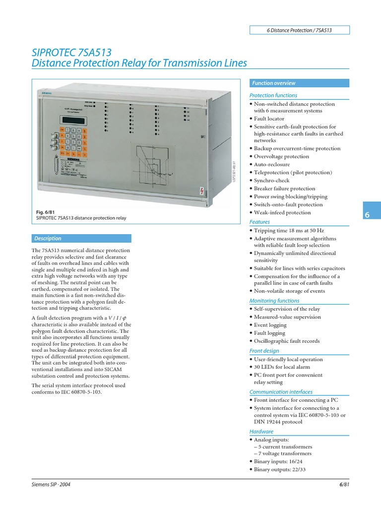 Catalogo Siemens Relay Electrical Substation Series 30 Sip Reed Circuit