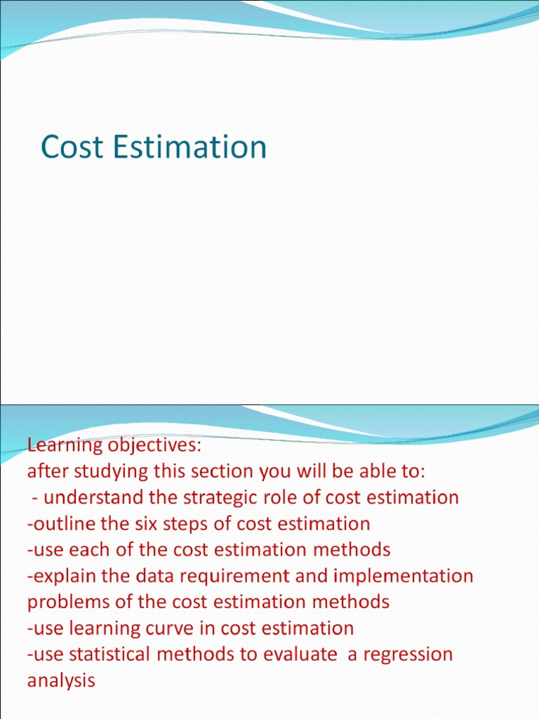 Cost Estimation Ppt | Regression Analysis | Errors And Residuals